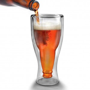 350ml Creative Double Wall Beer Glass Water Bottle Hopside Down Beer Mug My Bottle Crystal Drink Mugs Cups