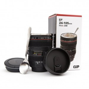 Coffee Mug - Camera Lens Coffee Mug -13.5oz, SUPER BUNDLE! (2 LIDS + SPOON) Stainless Steel, Travel Coffee Mug, Sealed & Retractable Lids! Camera Mug, Birthday Gifts for Men