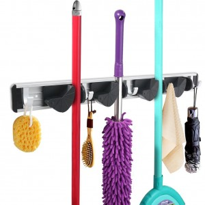 Broom Mop Holder Organizer Garage Storage Hooks Multifunctional Wall Mounted Organizer Gardening Shed Tool Rack with 4 Position 5 Hooks