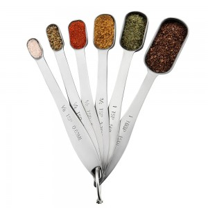 Heavy Duty Stainless Steel Metal Measuring Spoons for Dry or Liquid, Fits in Spice Jar, Set of 6