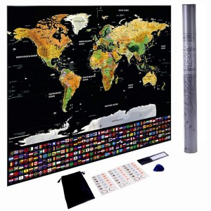 Scratch Off World Map Poster, Travel Map Print w/US States and Country Flags, for Travelers, Teen Boys, Girls, Fun Educational Learning & Teaching Tool for All Ages