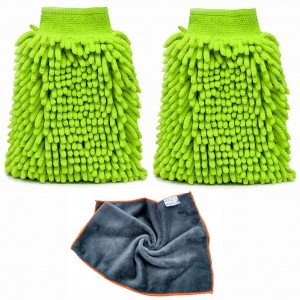 WATERPROOF Car Wash Mitts Extra Large Chenille Cleaning Plush Towels Cloth Kit Scratch Free Thick Soft Absorbent Car Care Set (2 Green Mitts and 1 Gray Towel)