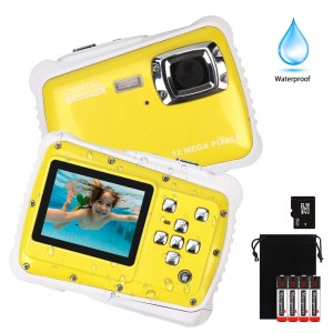 "Kids Waterproof Camera, Digital Underwater Camera for Boys and Girls, 12MP HD Action Sport Camcorder with 2.0"" LCD, 8X Digital Zoom, Flash, Mic and 8G SD Card."