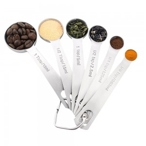 18/8 Stainless Steel Measuring Spoons, Set of 6 for Measuring Dry and Liquid Ingredients