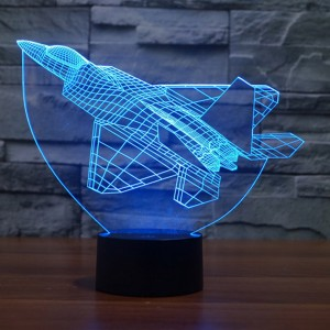 Colorful 3D Combat aircraft USB LED Night Light Touch Switch Nightlight Home Decor Creative Atmosphere Bedroom Acrylic Desk Lamp