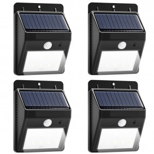 Solar Lights 8 LED Wireless Waterproof Motion Sensor Outdoor Light for Patio, Deck, Yard, Garden with Motion Activated Auto On/Off (4-Pack)