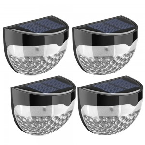 (4 Pack) Solar Lights, 6 LED Solar Powered Security Lights,Waterproof Outdoor Solar Powered Wireless Sensor Fence Light for Garden, Patio, Fence, Yard, Pathway, Hall, Driveway, Garage, Stairway, Gate, Wall (Built-in rechargeable Ni-MH battery)