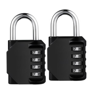 Combination Lock, 4 Digit Anti Rust Padlock Set, Metal & Plated Steel and Weather Proof Design for School, Employee, Gym & Sports Locker, Case, Toolbox, Fence, Hasp Cabinet & Storage - Pack of 2