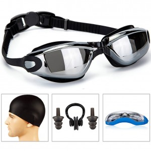 Swimming Goggles + Swim Cap + Case + Nose Clip + Ear Plugs,Swim Goggles Anti Fog UV Protection for Adult Men Women Youth Kids Child Black
