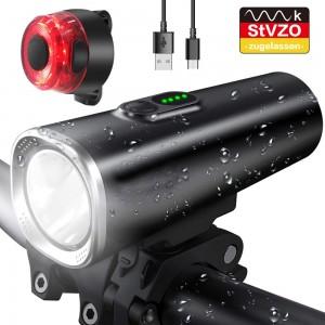 LED Fahrradlicht Set, StVZO Zugelassen USB Fahrradbeleuchtung Fahrradlampe Frontlicht/Rücklicht, IPX5 Wasserdicht 2600mAh Samsung Li-ion Licht für Fahrrad