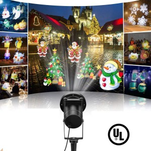 Led Christmas Projector Light Outdoor 2018 Newest Version,Bright Led Holiday Landscape Spotlight with 16 Slides Multicolor Dynamic Lighting Show for Halloween Party